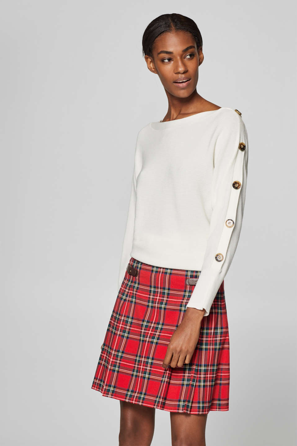 Esprit - Pleated skirt with checks and decorative straps