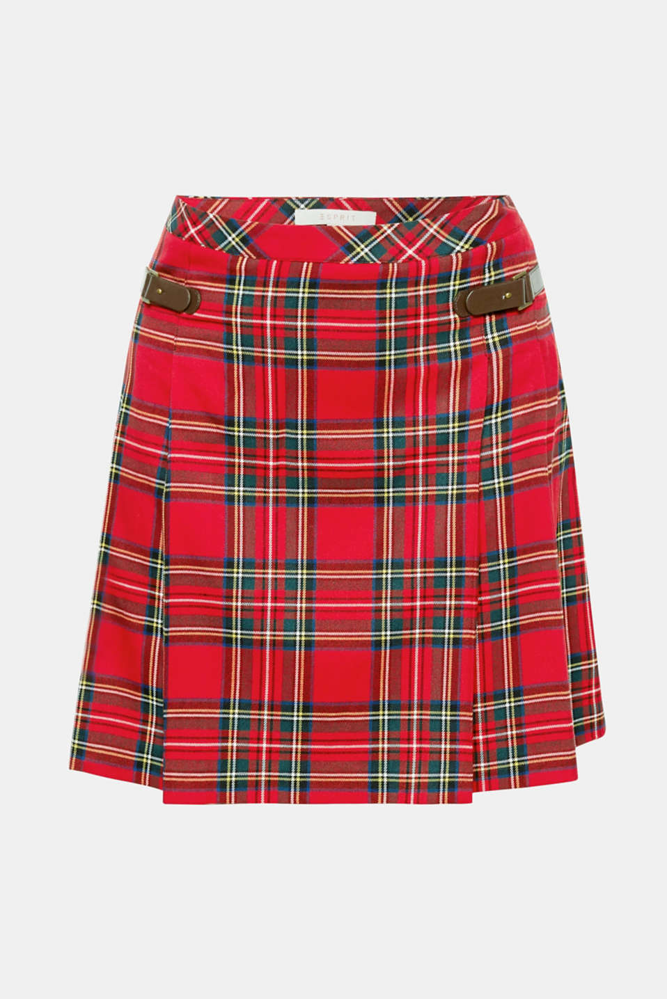 Stylish college look: Thanks to the classic check pattern and two decorative straps in faux leather, this short pleated skirt with added stretch for comfort looks totally authentic!