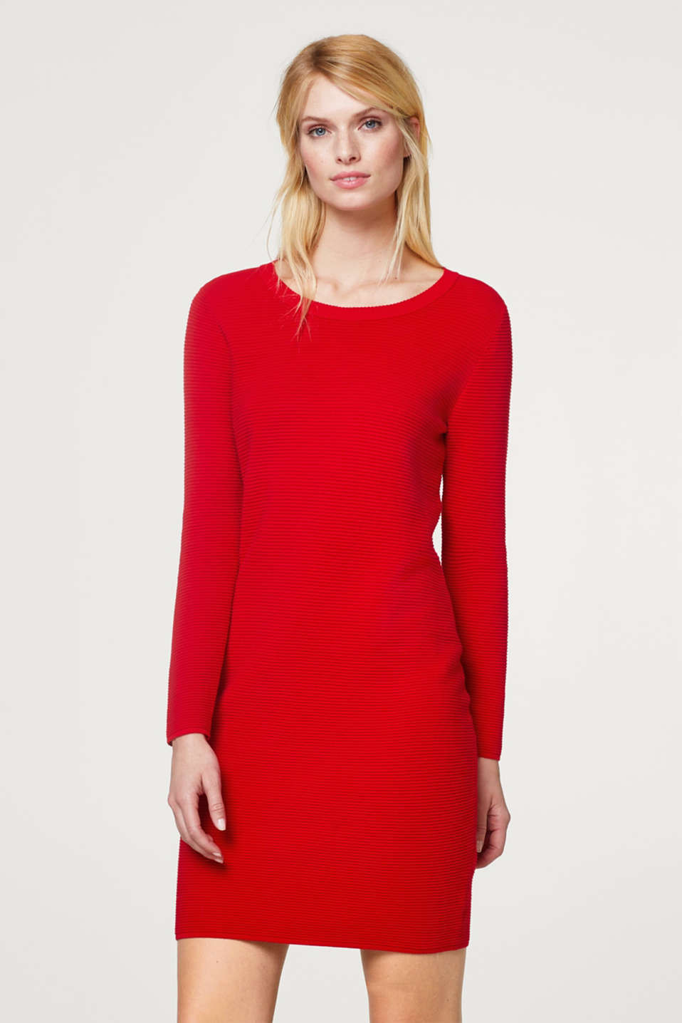 Esprit - Jersey dress with a finely ribbed texture
