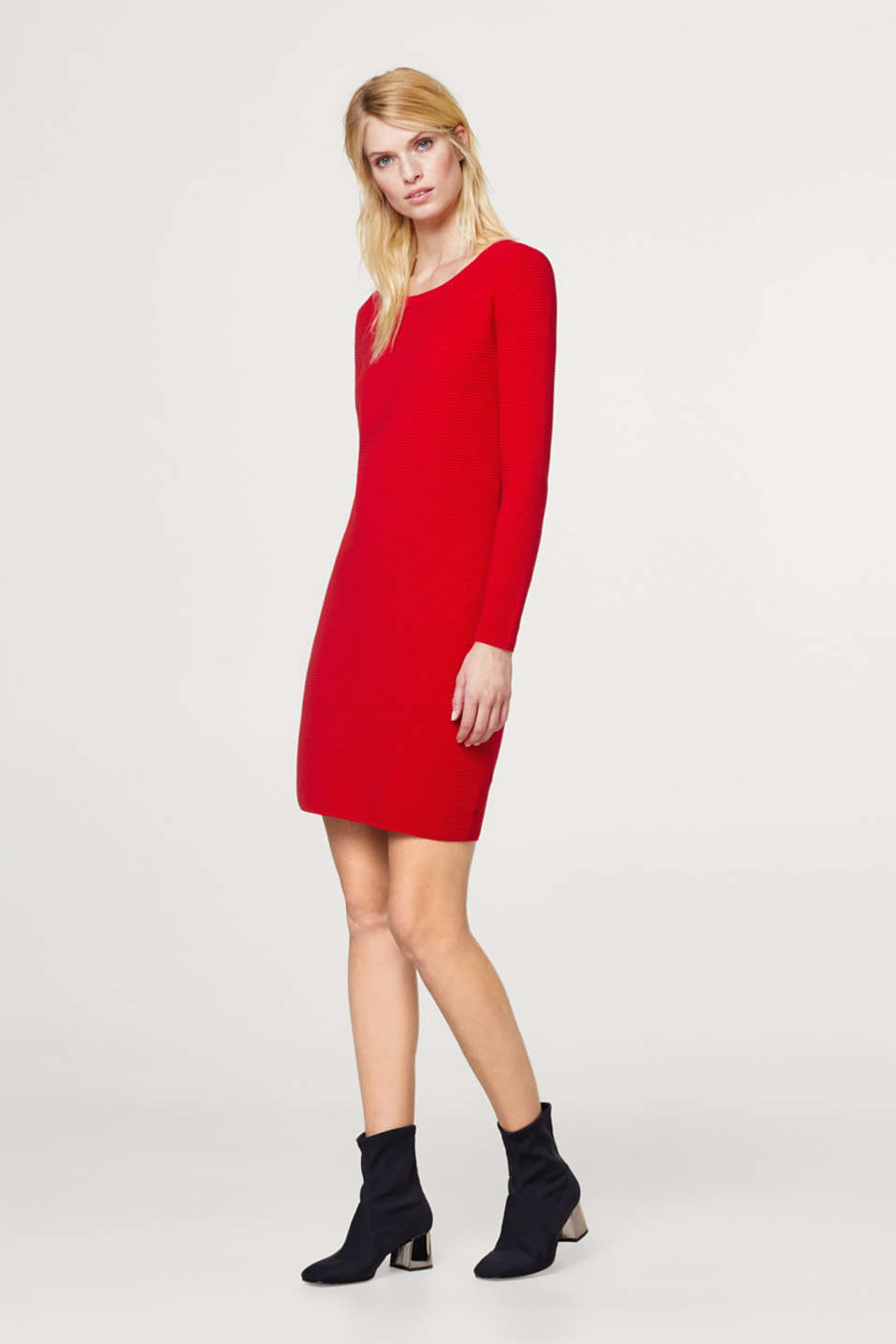 Jersey dress with a finely ribbed texture
