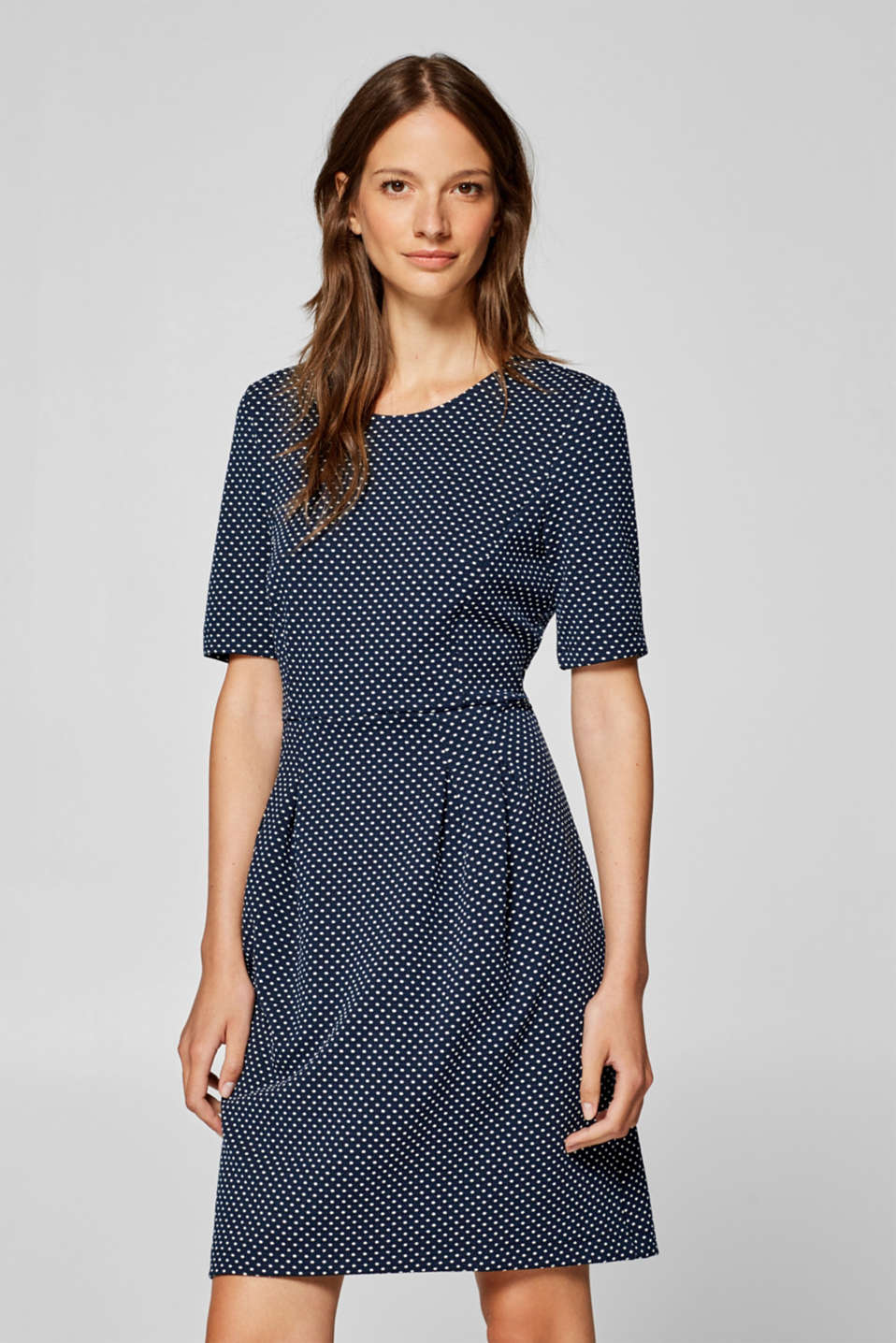 Esprit - Jersey stretch dress with jacquard polka dots