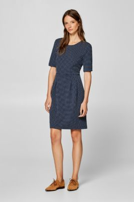 Esprit - Jersey stretch dress with jacquard polka dots at our Online ... 5caae8669f