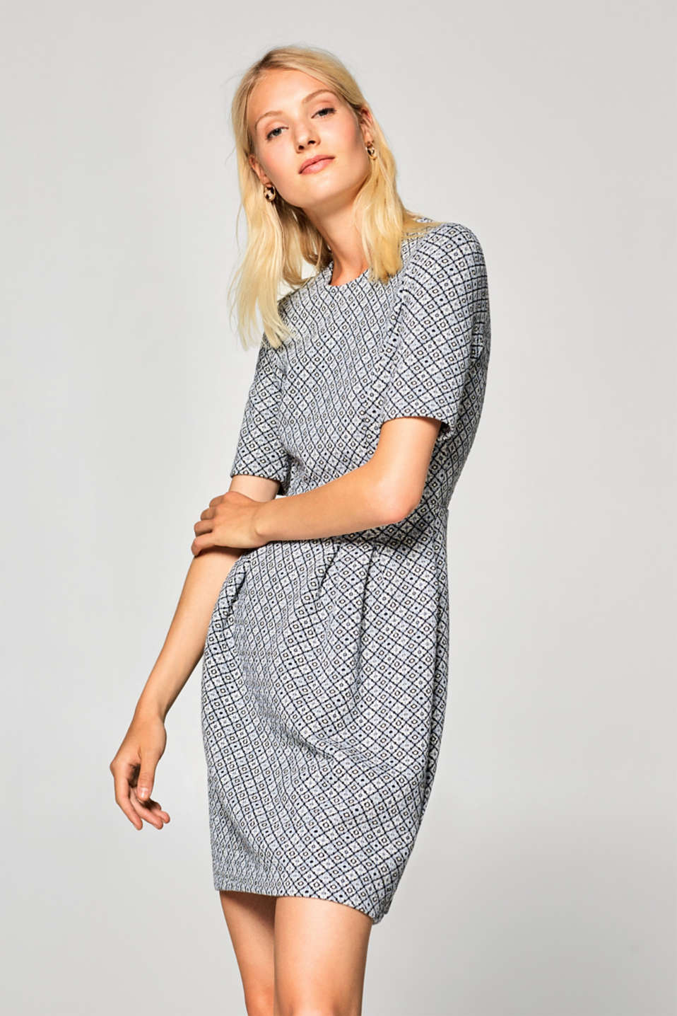Esprit - Stretch jersey jacquard dress