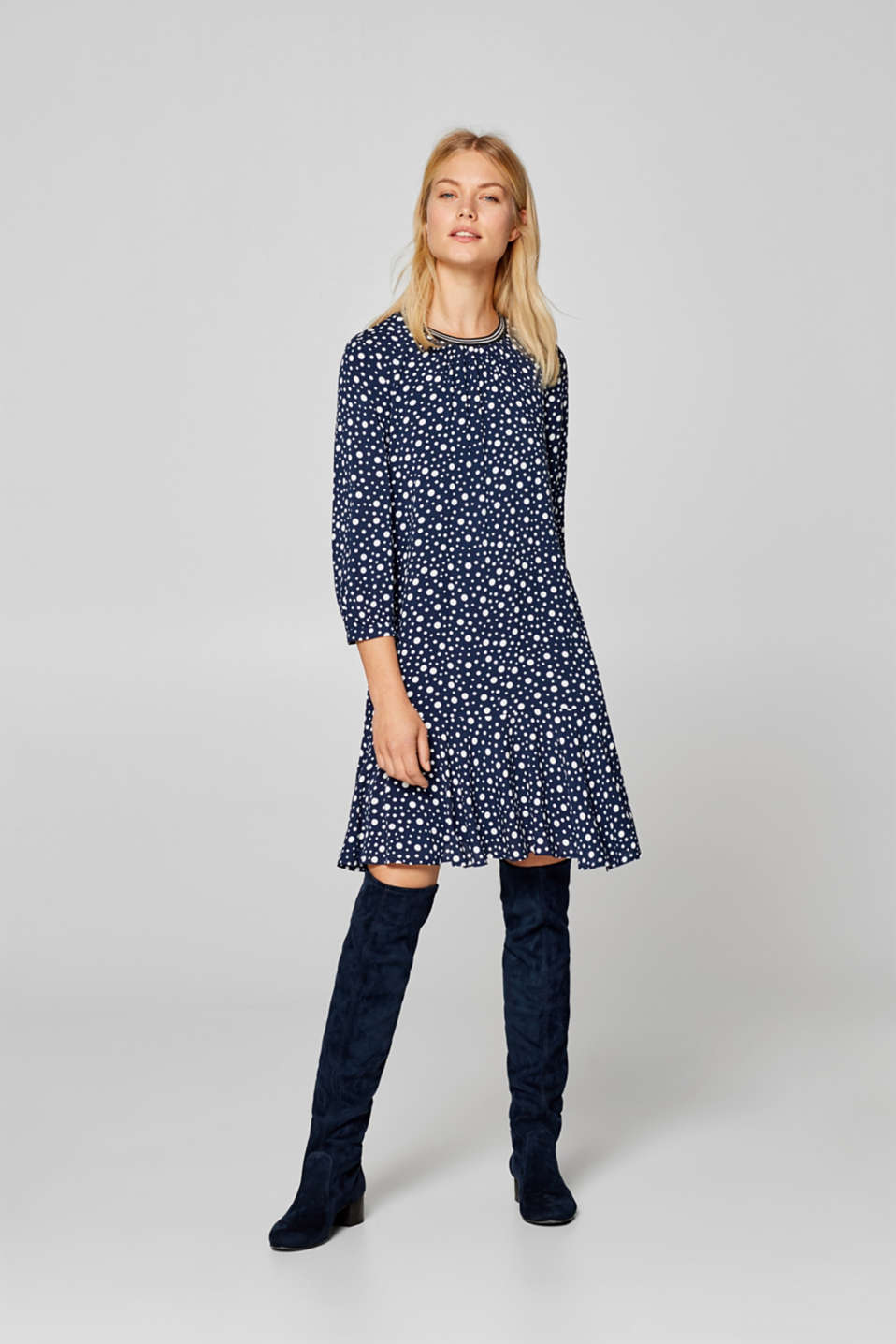 Esprit - Dress with polka dots and sporty cuffs