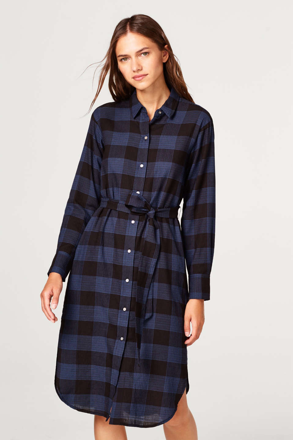 Esprit - Cotton check shirt dress