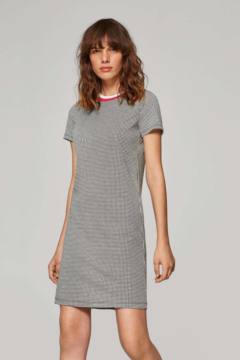Esprit - Stretch jersey dress with a houndstooth pattern
