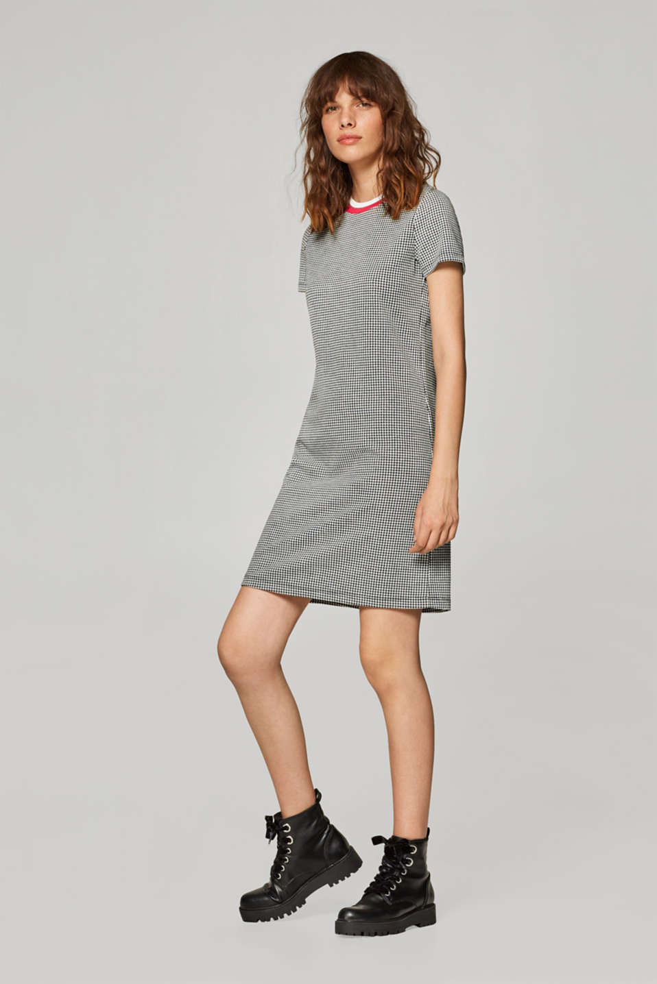 Stretch jersey dress with a houndstooth pattern