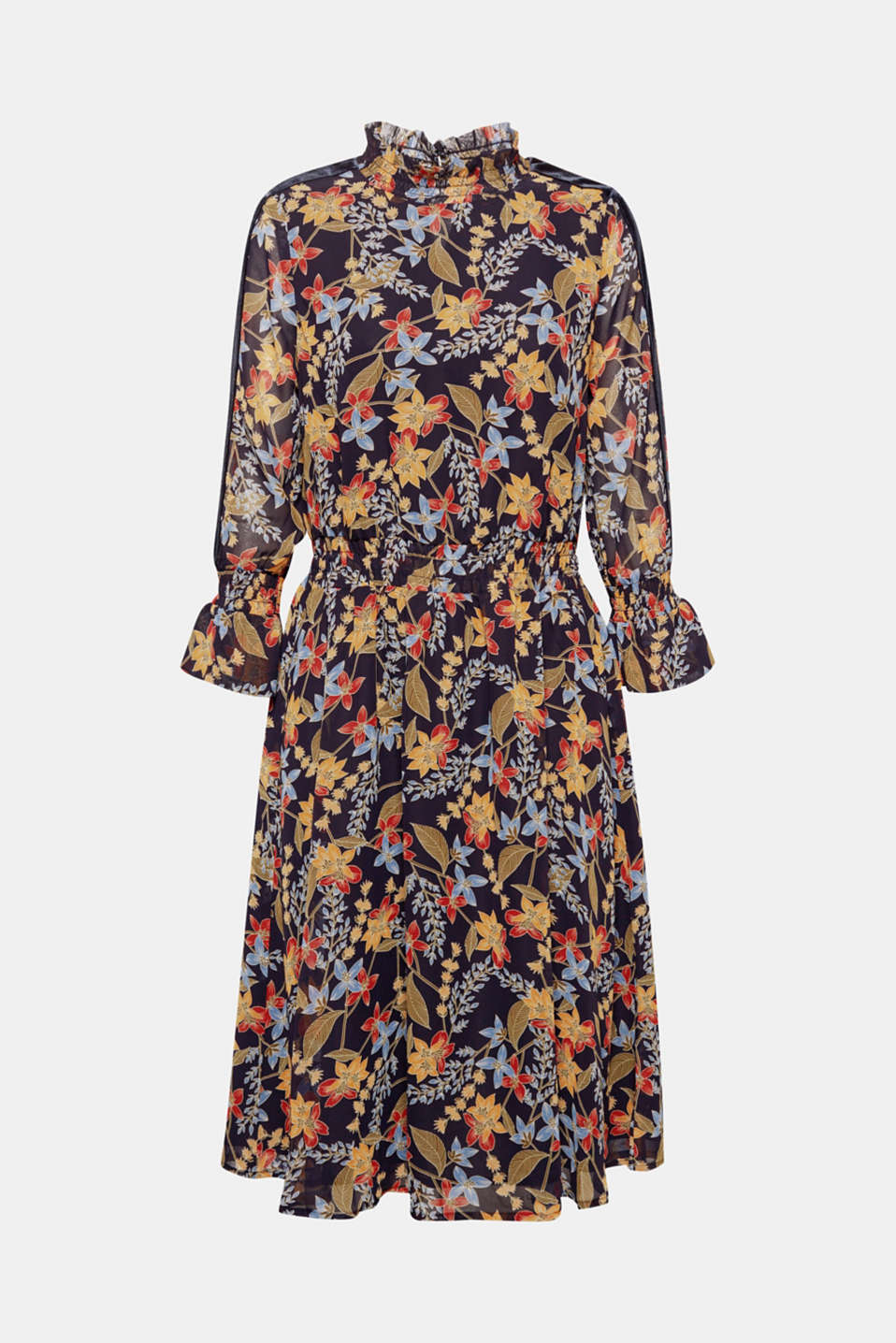 DESIGN EDITION: This dress is the perfect choice for romantic autumn looks with a stylish floral print on delicate chiffon coupled with elegant velvet details.