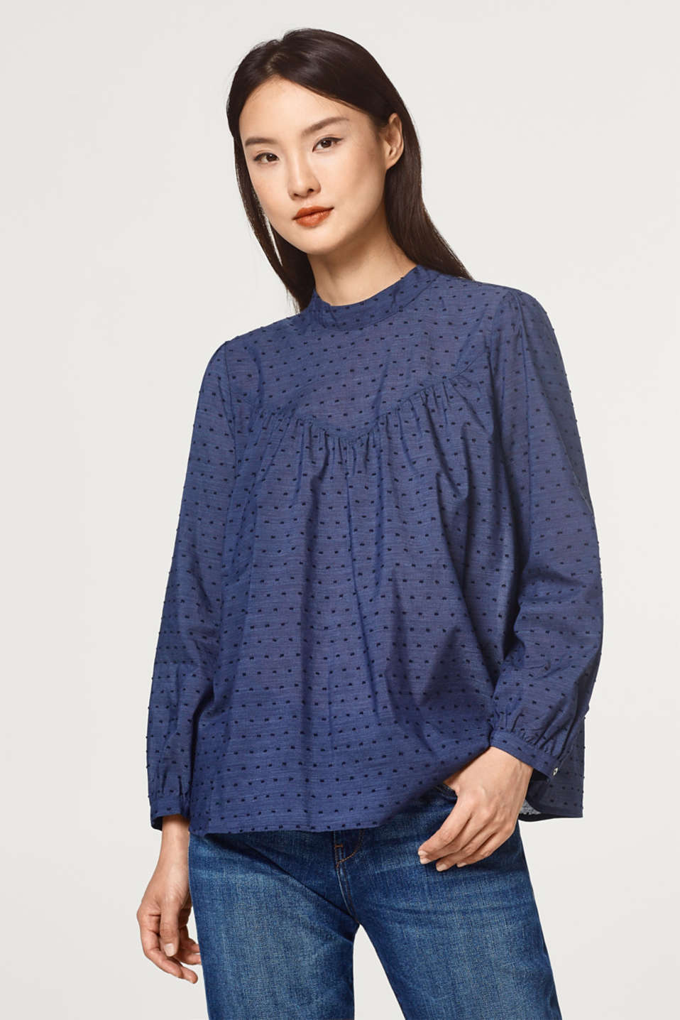 Esprit - Blouse with a band collar and woven polka dots