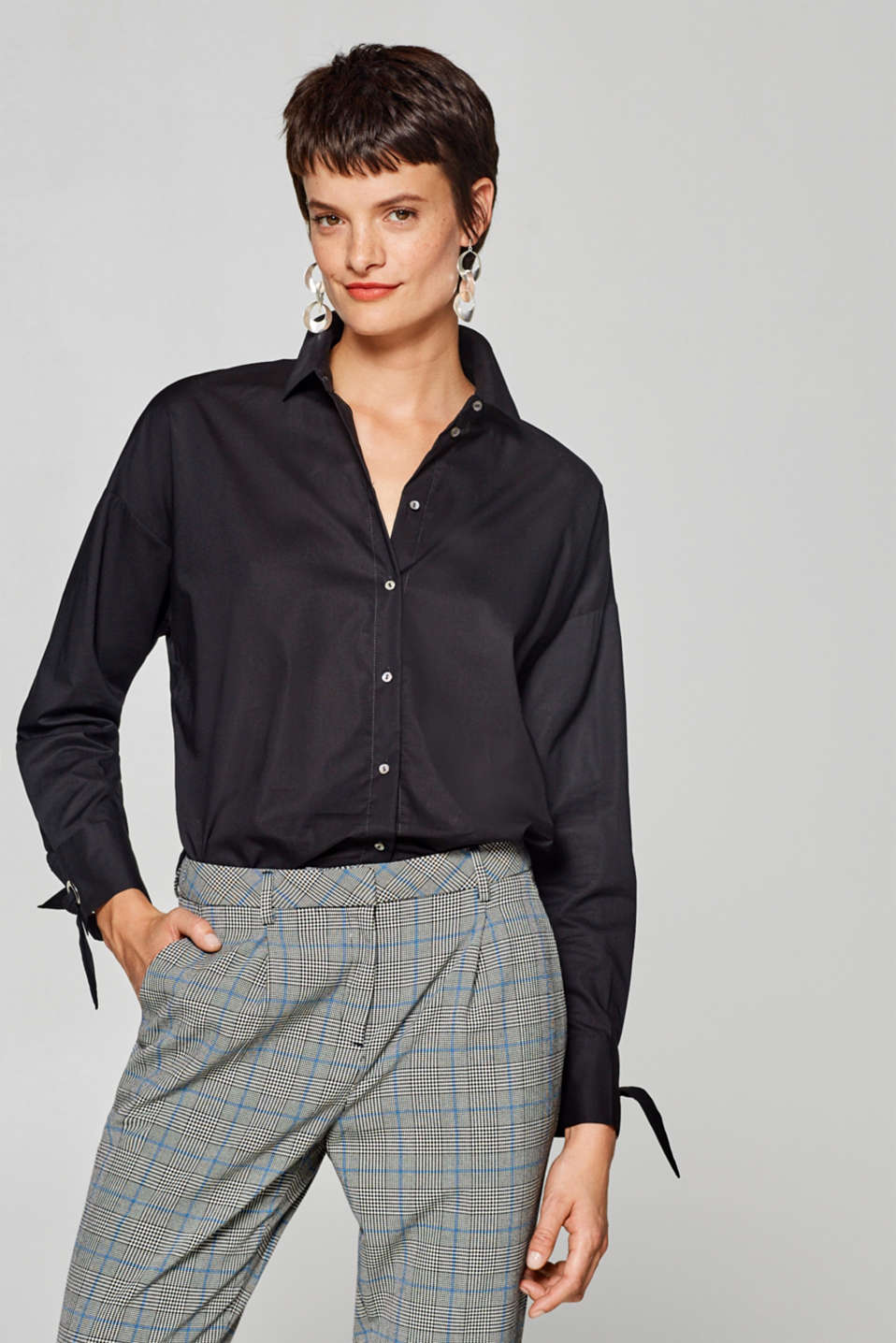 Esprit - Oversized blouse with bows, 100% cotton