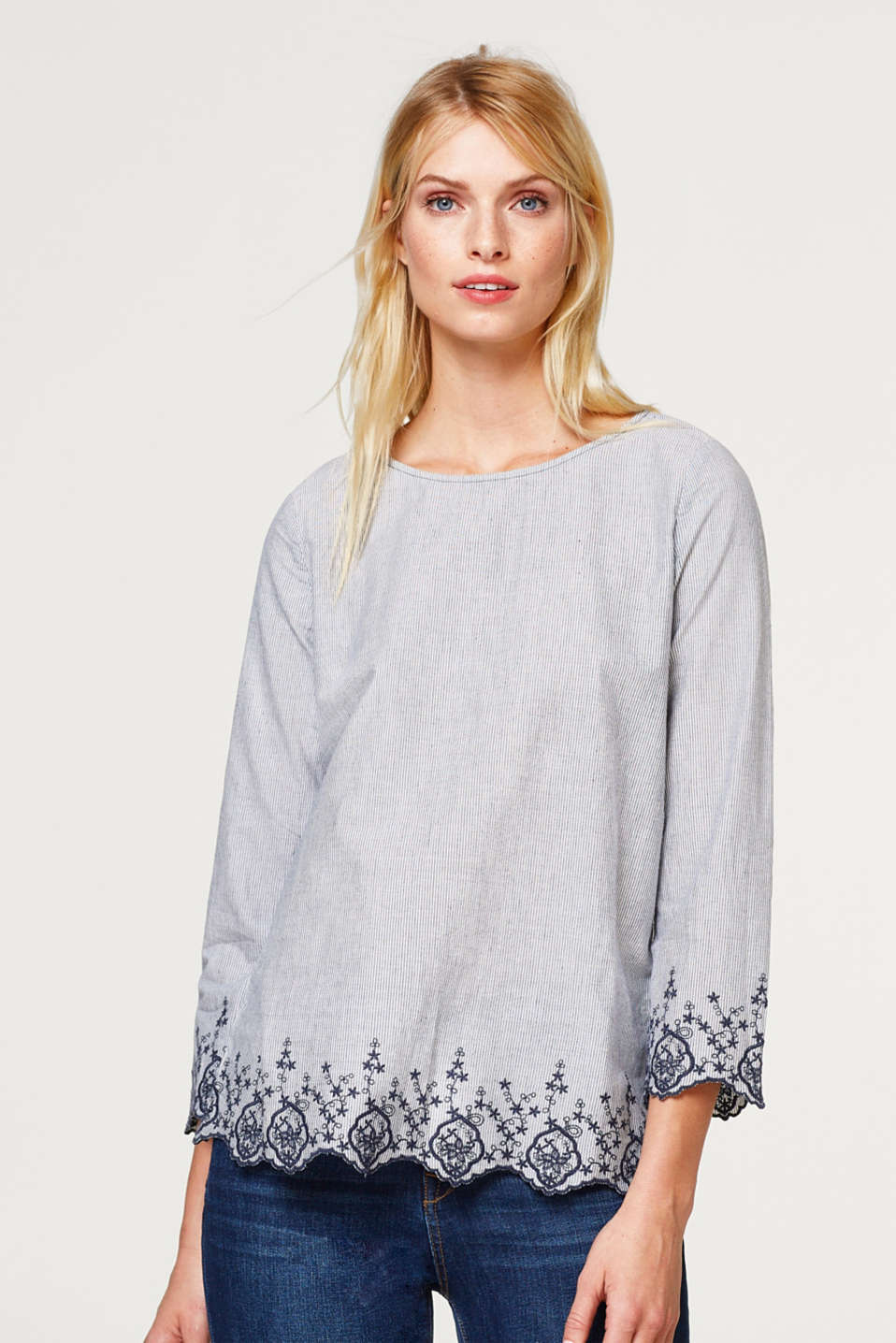 Esprit - Striped blouse with a scalloped hem and embroidery