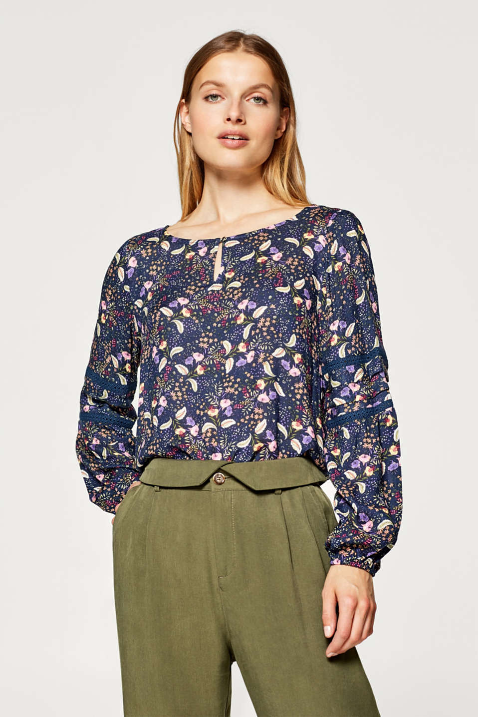 Esprit - Printed blouse with lace details