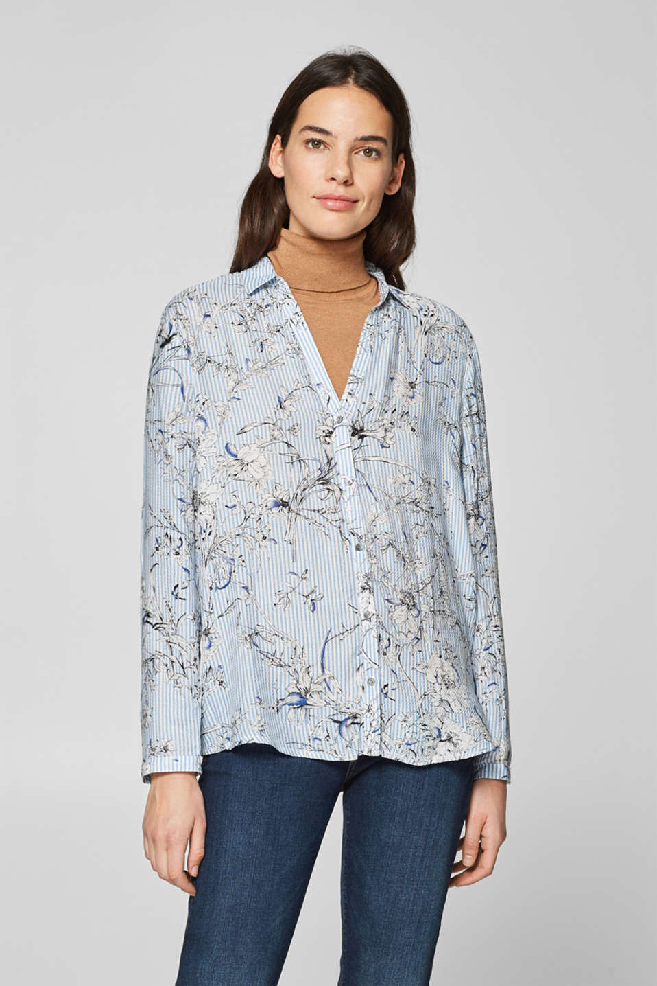 Esprit - Shirt blouse with print and open collar