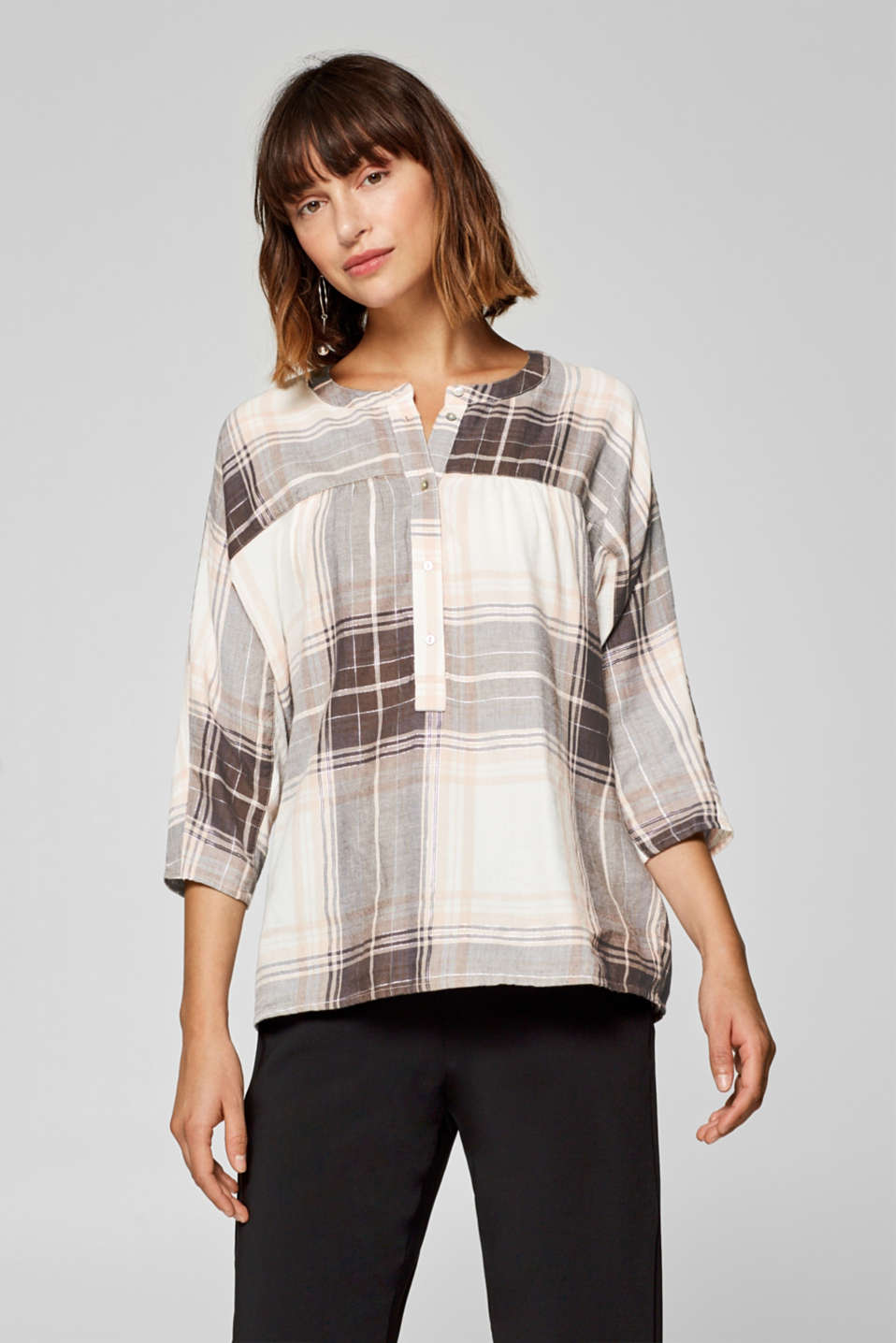 Esprit - Glittering check blouse with a frill trim