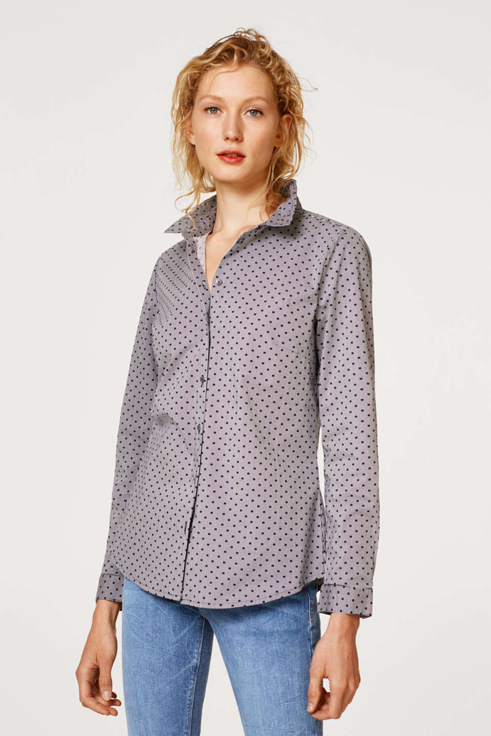 Esprit - Shirt blouse with stripes and polka dots