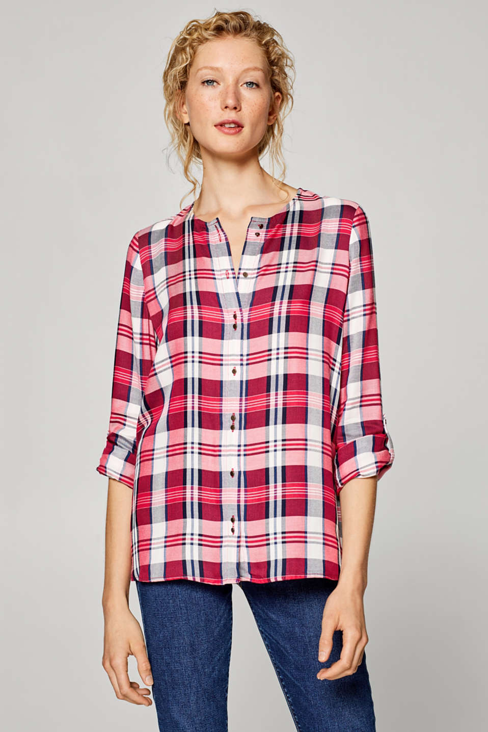 Esprit - Check blouse with pretty button placket