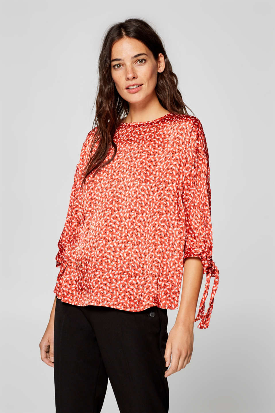 Esprit - Printed blouse with bow sleeves