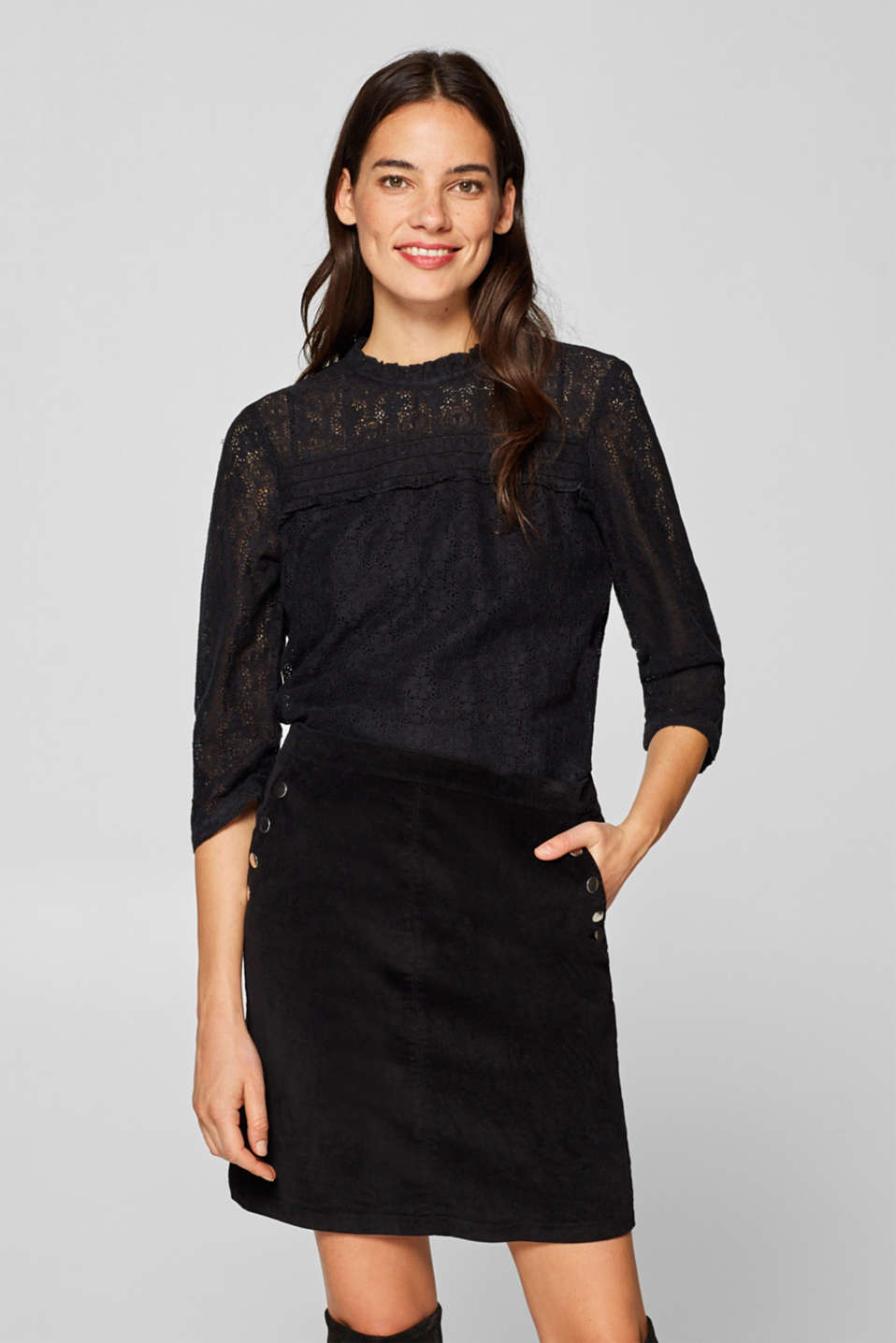 Esprit - Lace blouse with frills and 3/4 sleeves