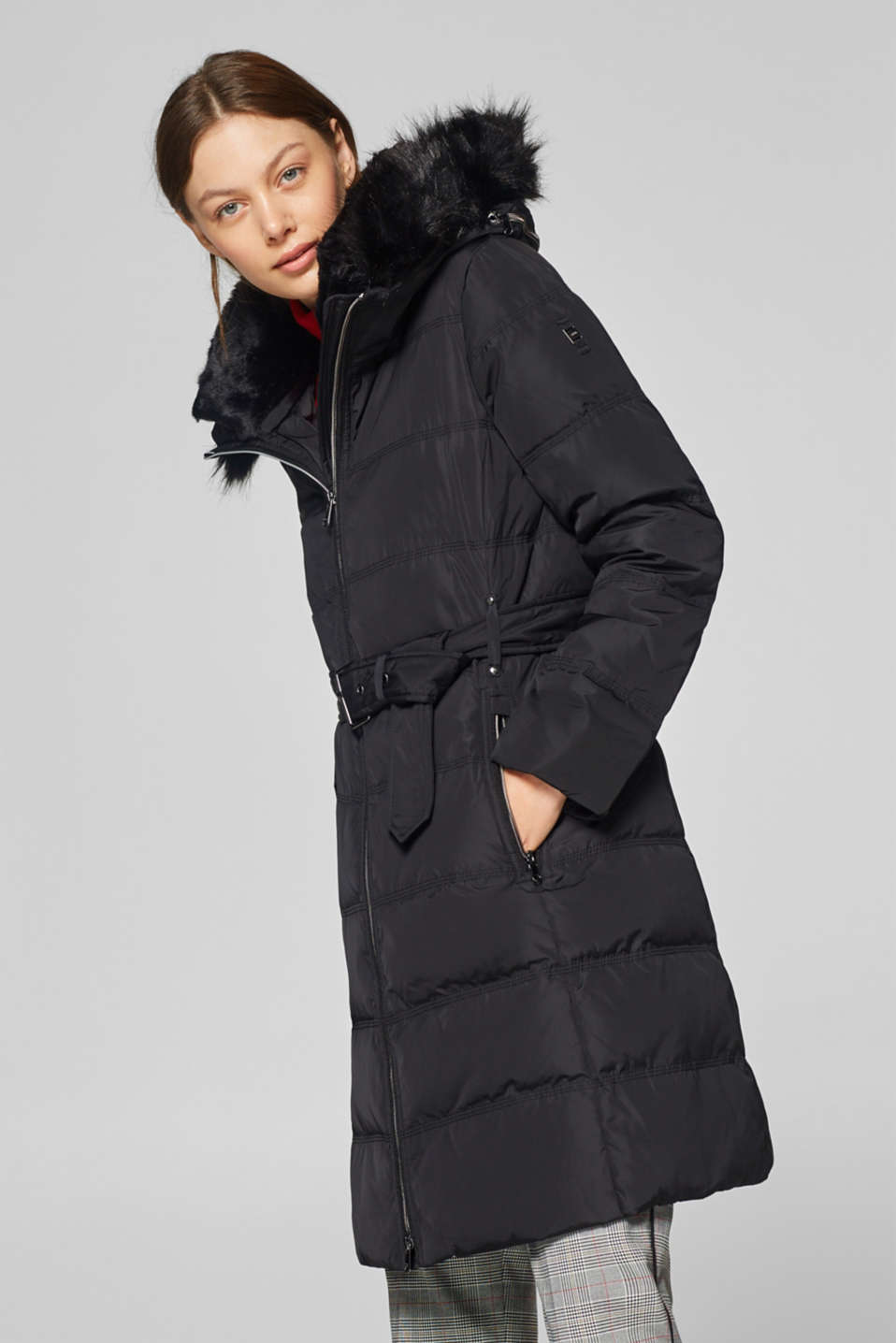 Esprit - Down coat with a variable, faux fur hood