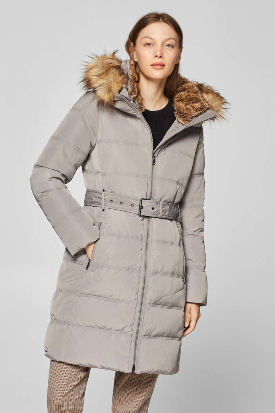 Esprit - Down coat with an adjustable woven faux fur hood