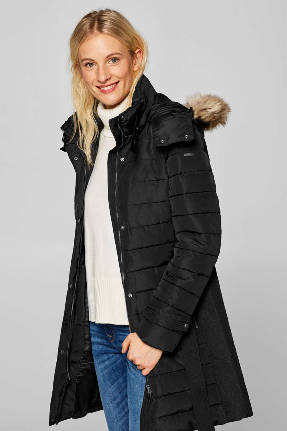Esprit - Quilted coat with a faux fur hood