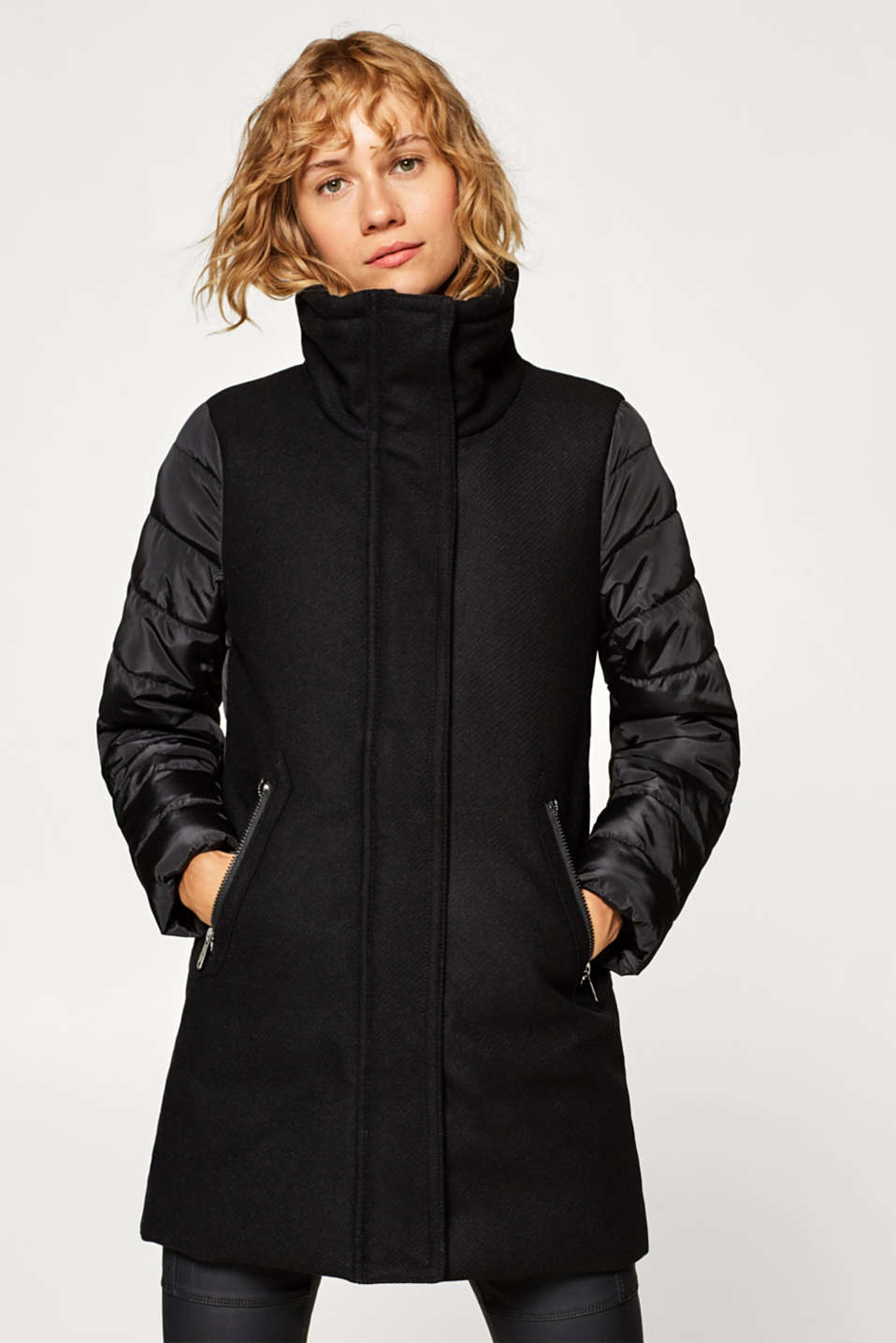 Esprit - Made of blended wool: coat with quilted sleeves