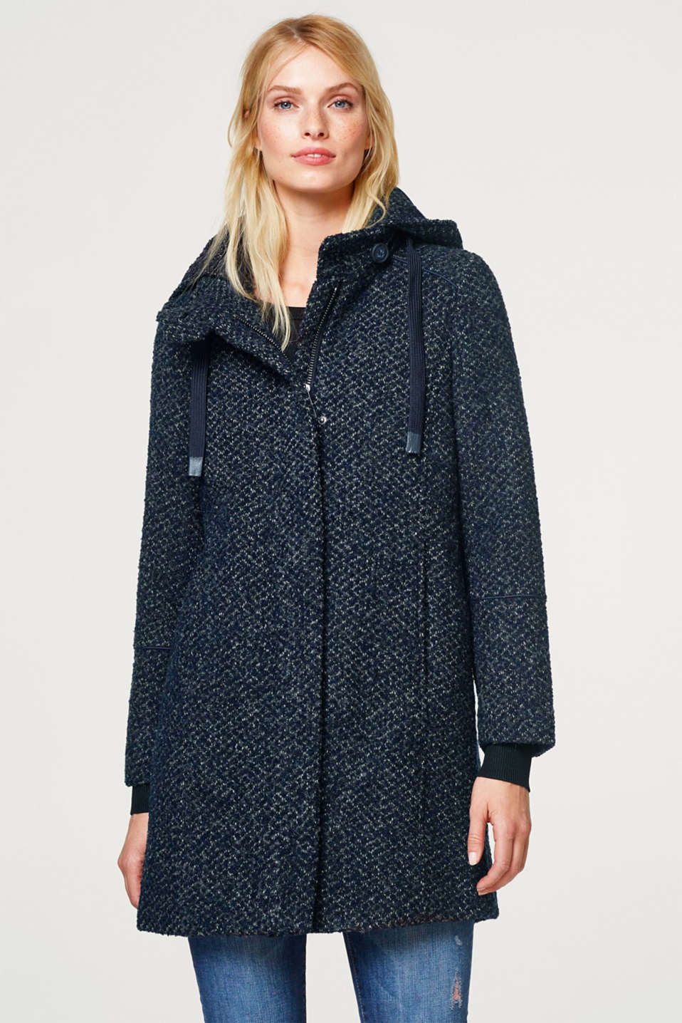 Esprit - Adjustable wool blend bouclé coat