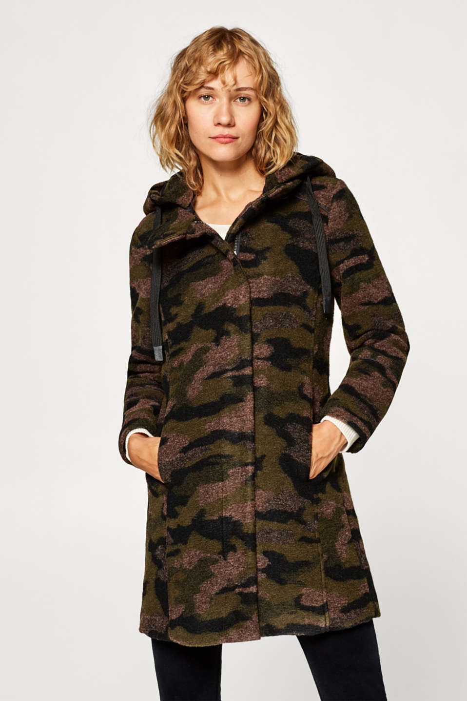 Esprit - With wool: Camouflage parka with hood