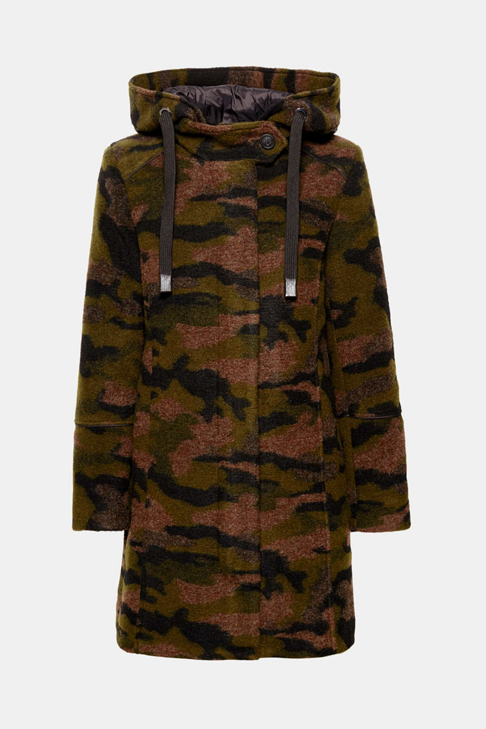 Cool camouflage design, dense soft wool blend: The modern mix makes this parka with a quilted nylon hood and decorative piping truly eye-catching!