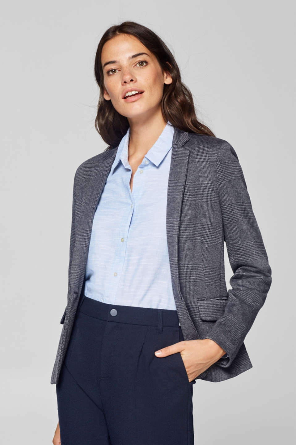 Esprit - Stretch blazer with Prince of Wales check pattern