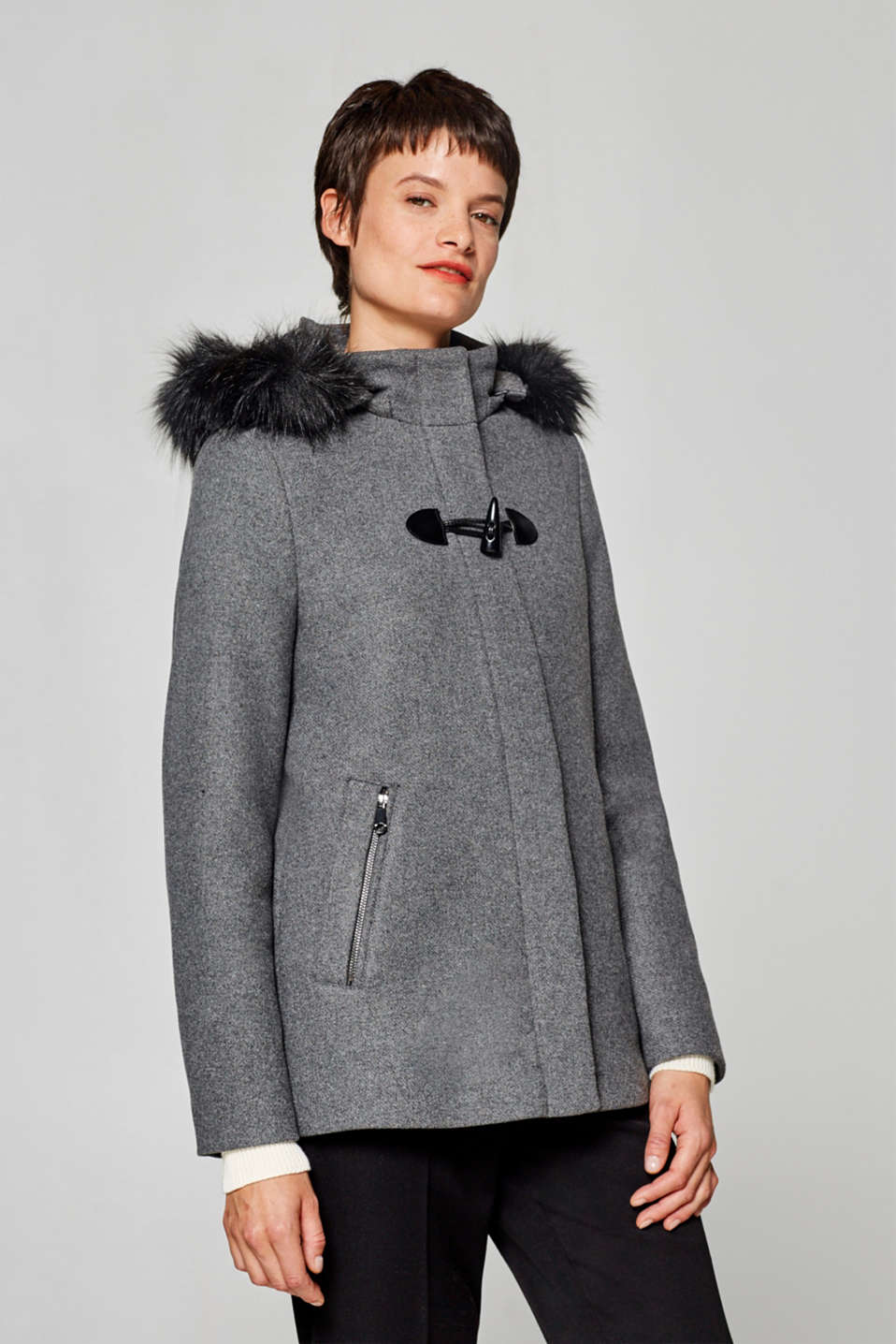 Esprit - Wool blend: jacket with a woven faux fur hood