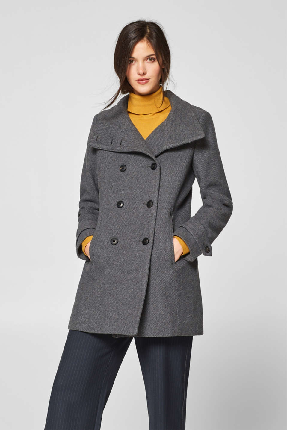 Esprit - Made of blended wool: Coat with stand-up collar and hood