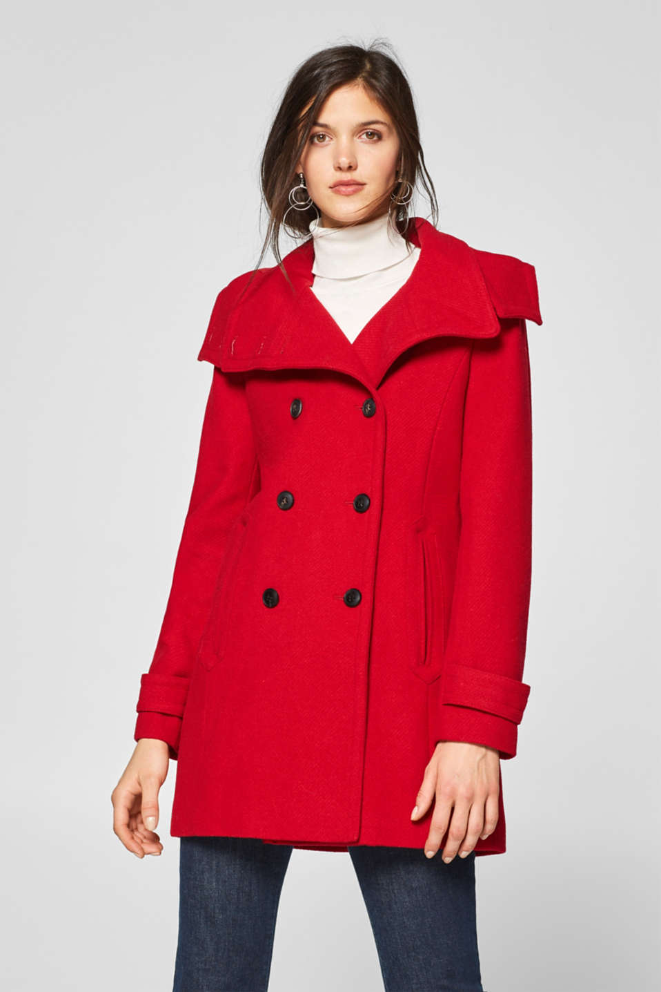 Esprit - Made of blended wool: Coat with an adjustable hood