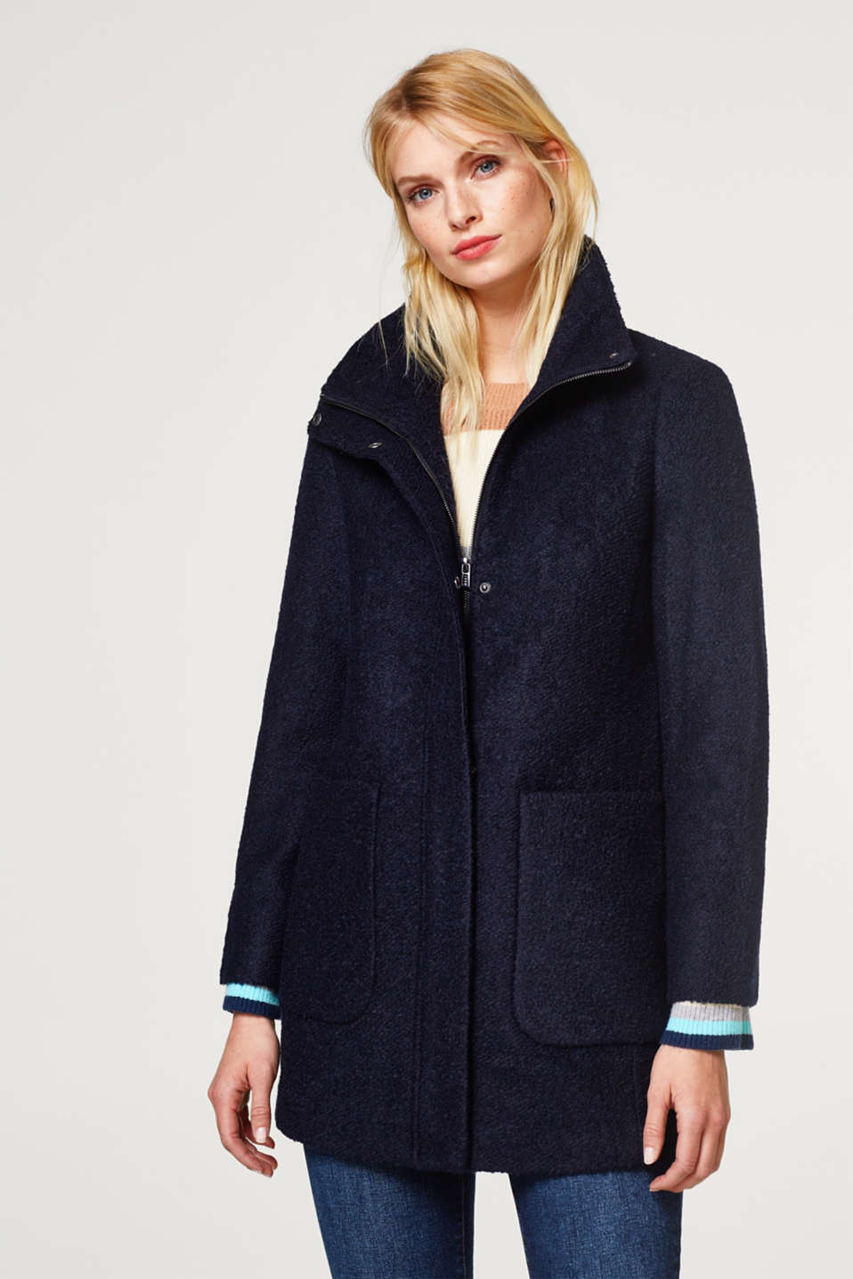 Esprit - With wool: bouclé coat
