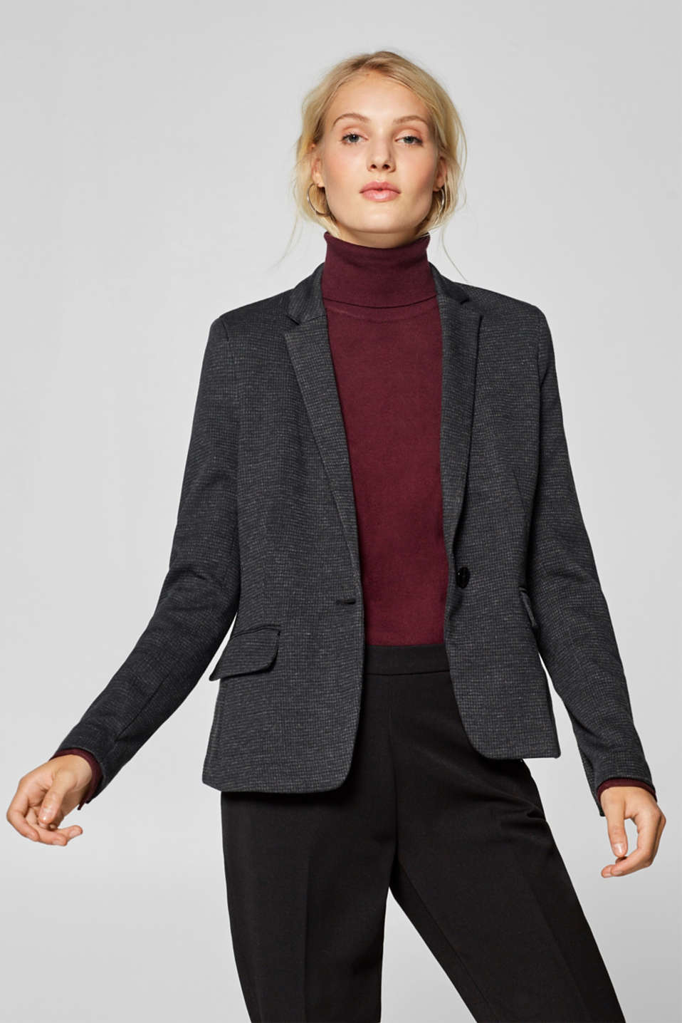 Esprit - Sweatshirt blazer with a fine check pattern
