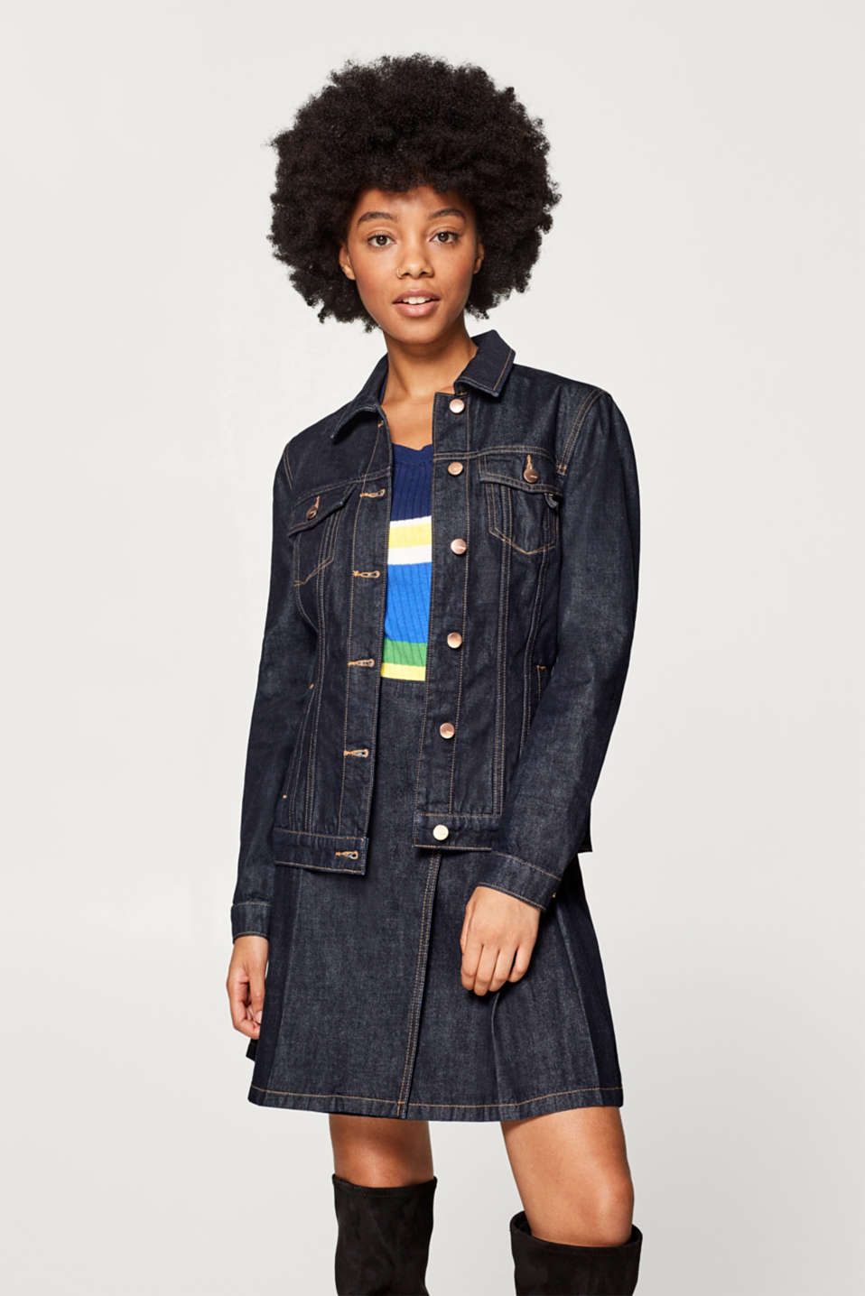 Esprit - Denim jacket with a sophisticated back