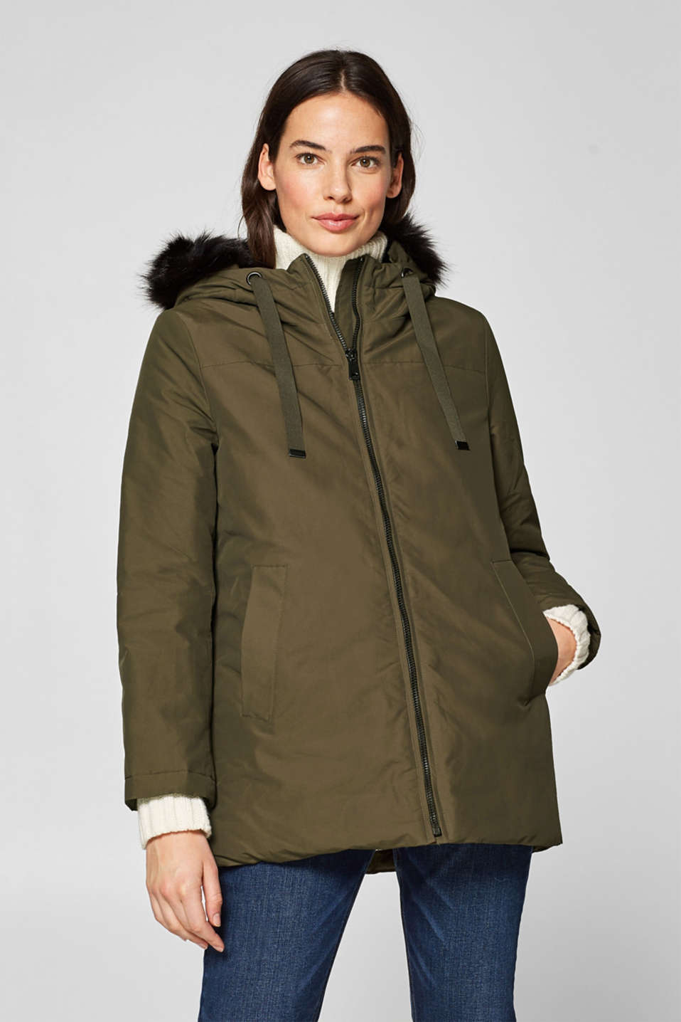 Esprit - Padded outdoor jacket with fake fur trim