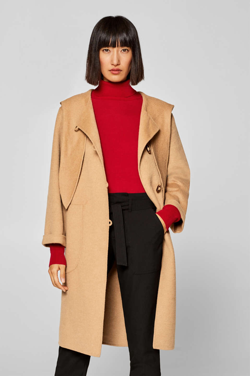 Esprit - Made of blended wool: hooded coat with a bow