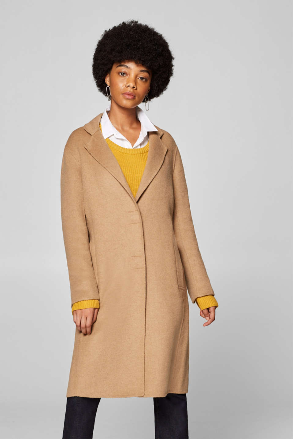 Esprit - Unlined coat with wool in a sleek design