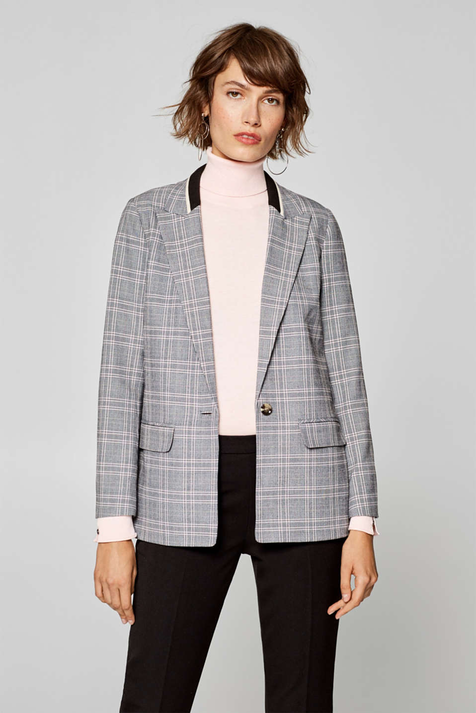 Esprit - Stretch blazer with a rib knit collar