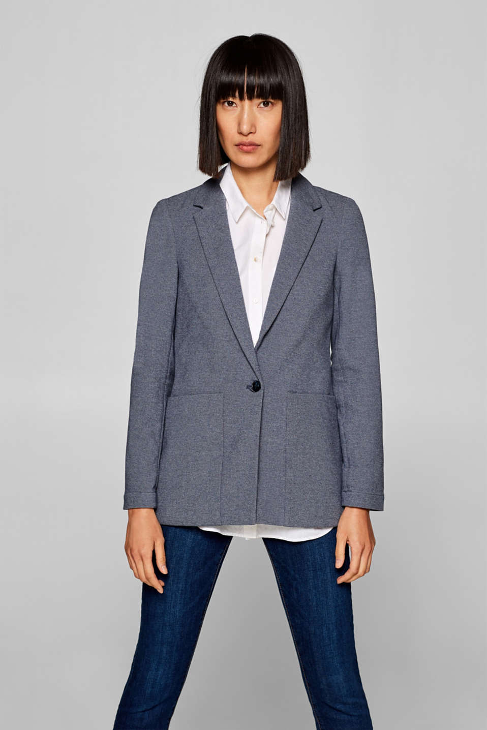 Esprit - Cotton blend casual stretch blazer