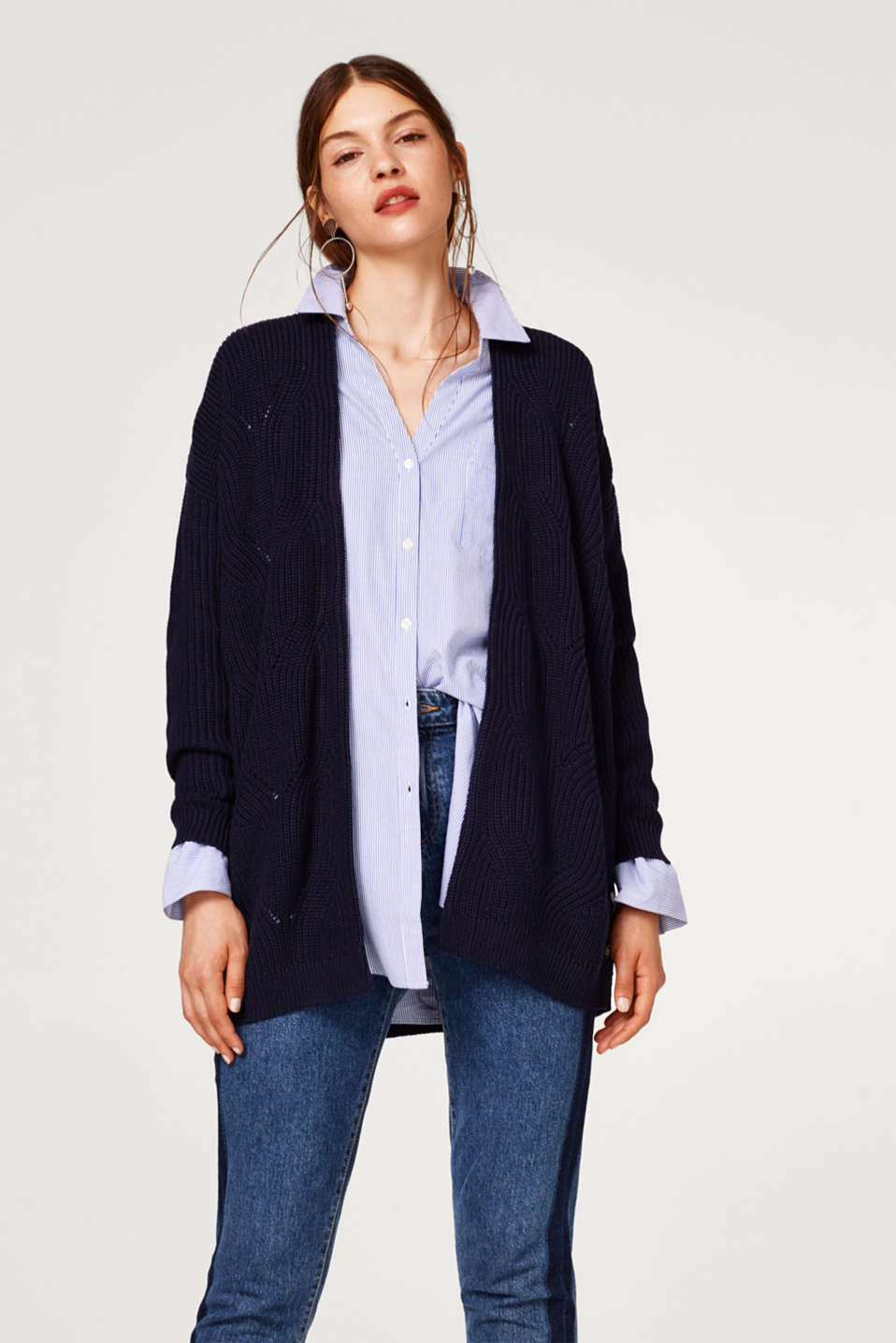 Esprit - Ribbed cardigan with a cable pattern