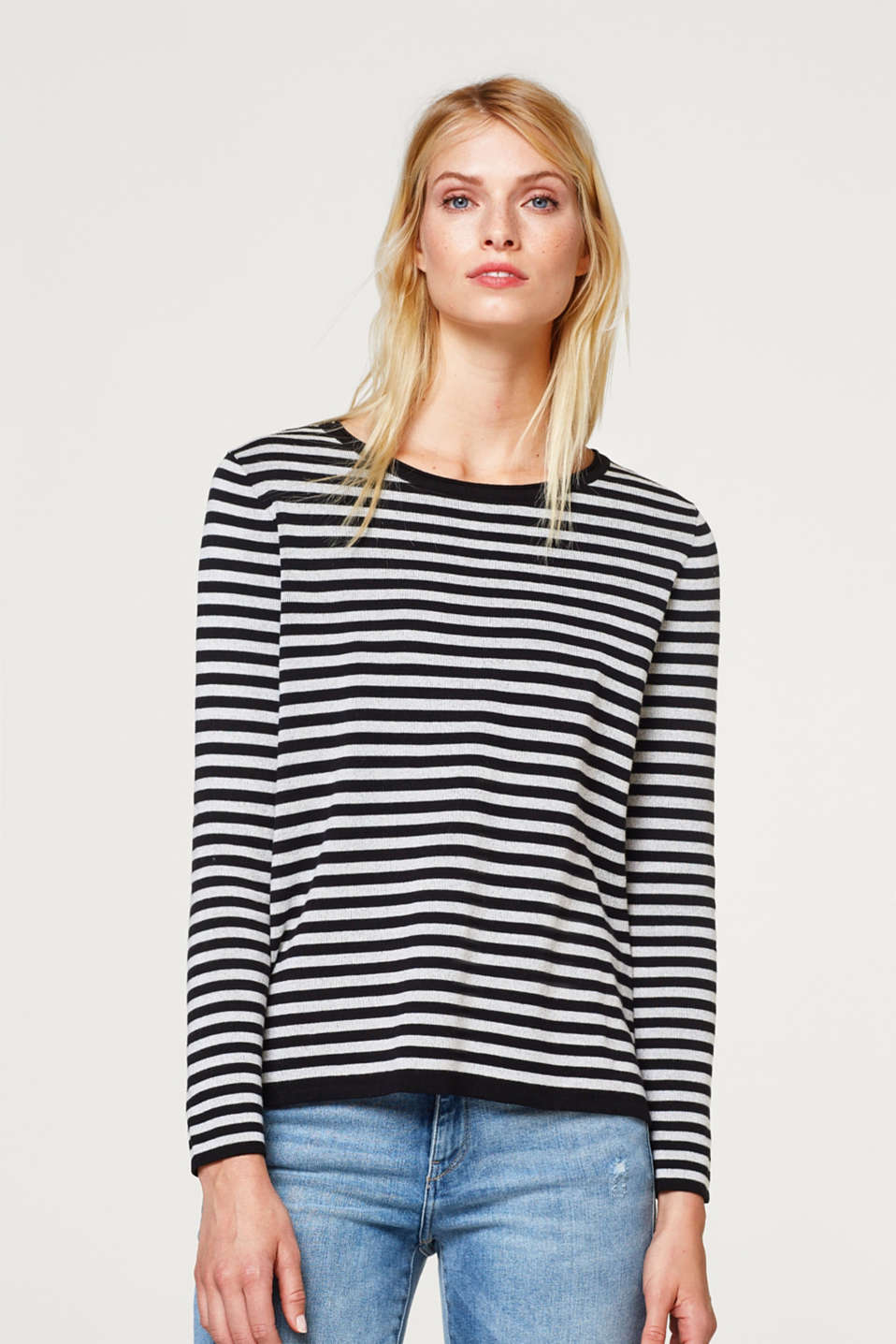 Esprit - Double-faced sweatshirt with stripes and a button placket