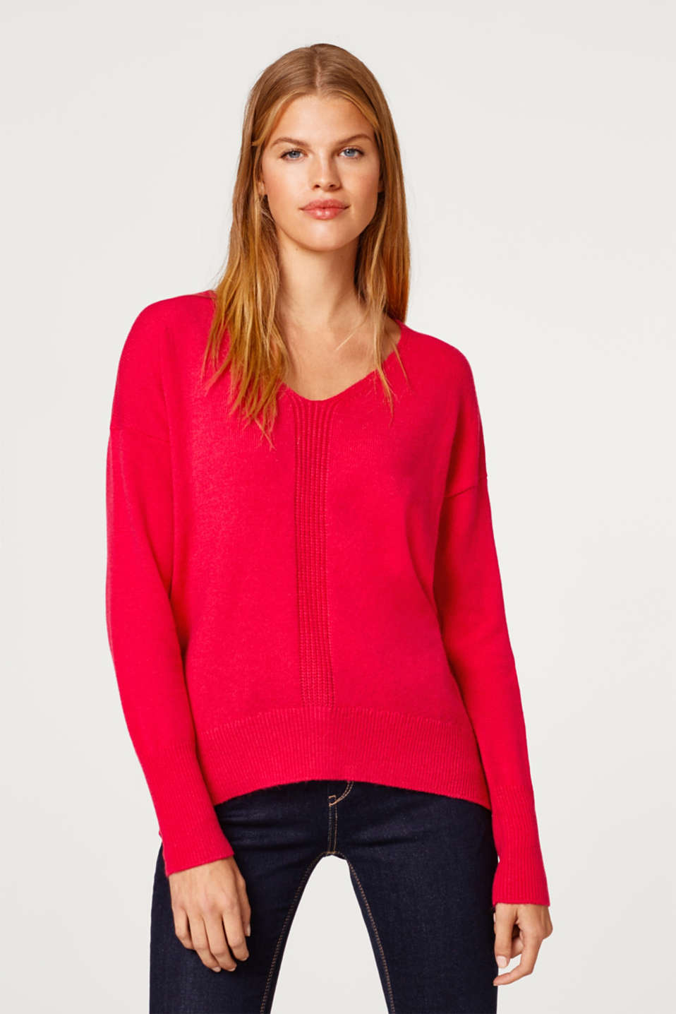 Esprit - Wool blend: jumper with a back button placket