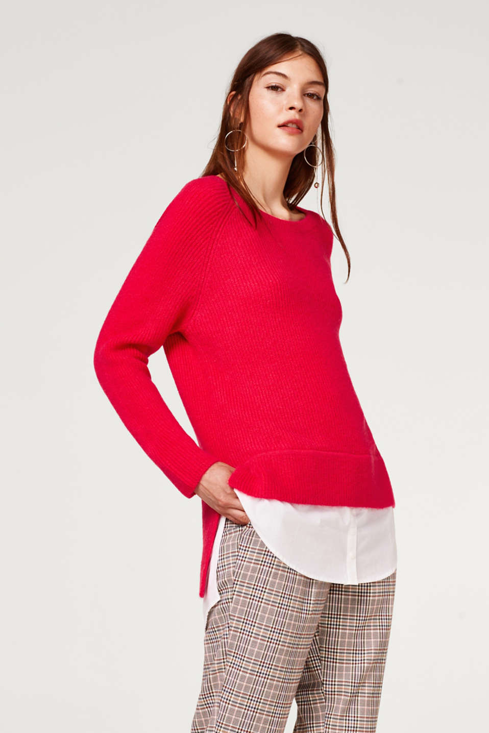 Esprit - Wool blend: 2-in-1 jumper with shirt details
