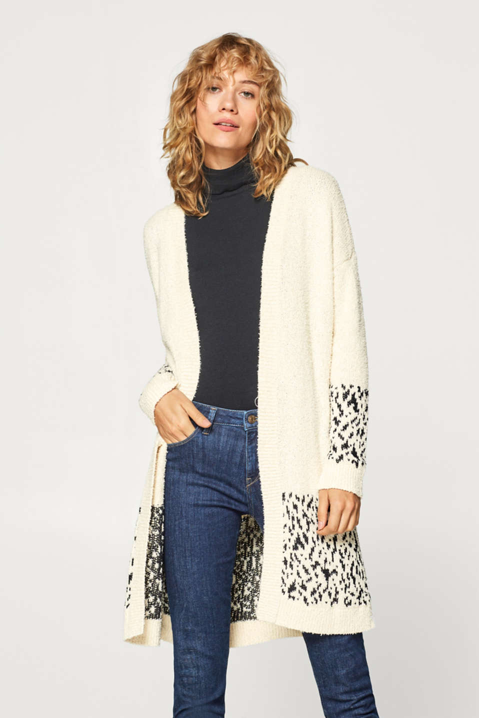 Esprit - Long cardigan with jacquard details