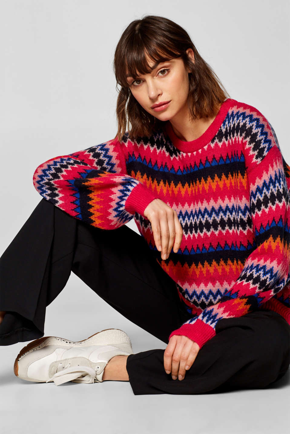 Esprit - Light jacquard jumper with mohair