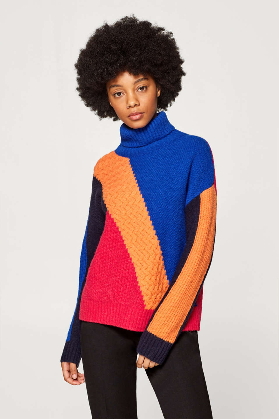 Esprit - With wool: stretch jumper with colour blocking