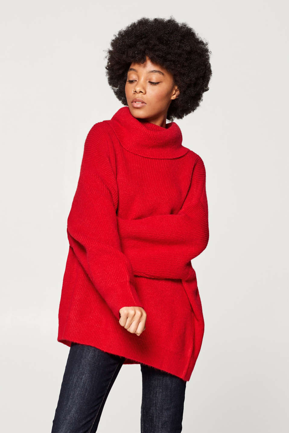 Esprit - Wool blend: oversized polo neck jumper