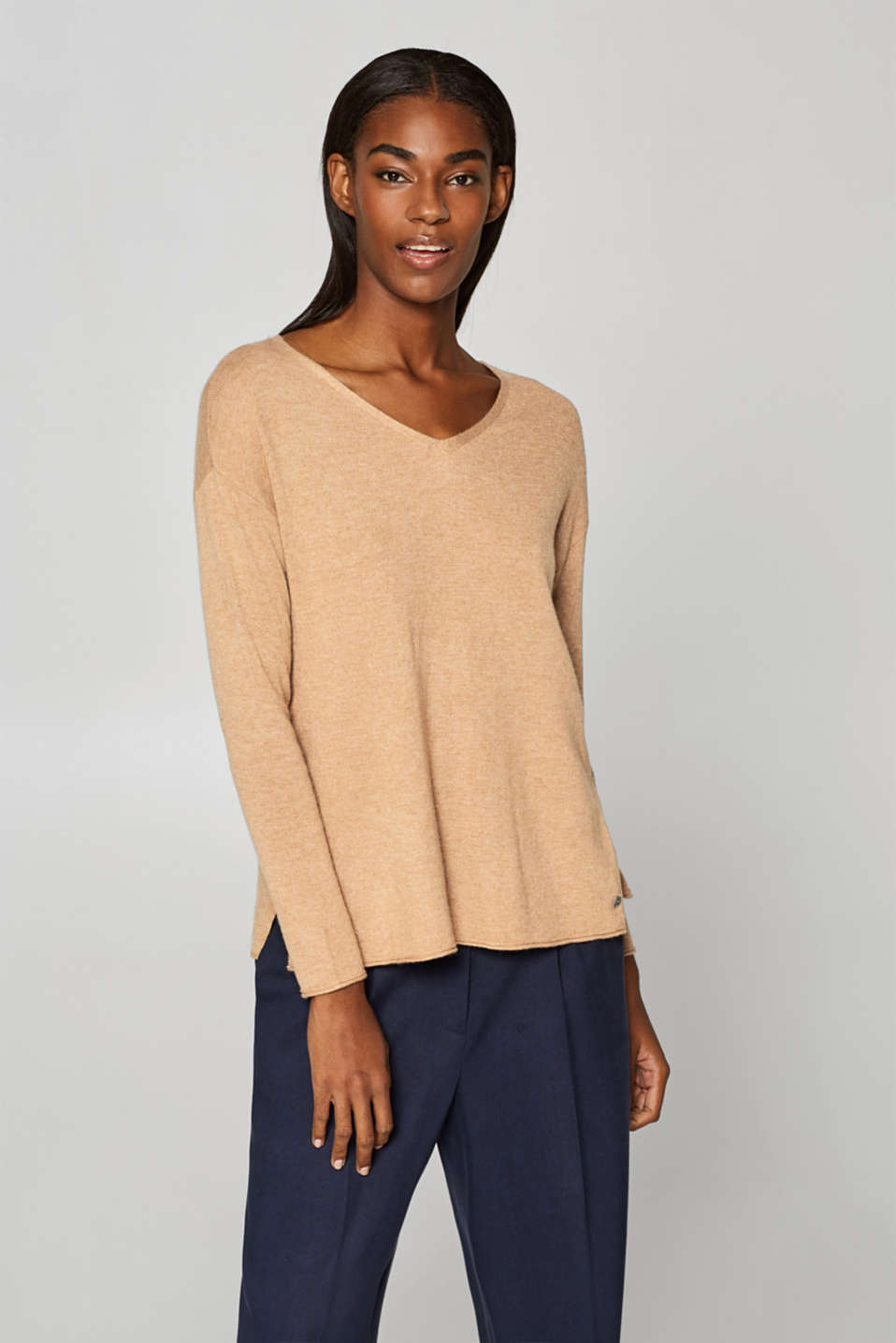 Esprit - Fine knitted jumper with cashmere